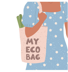 girl with eco bag and vector image