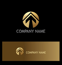 gold arrow up round logo vector image