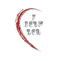 half heart with I love you vector image