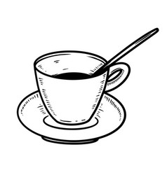 hand drawn coffee cup with plate design element vector image