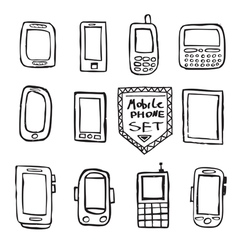 Hand drawn set of mobile gadgets vector