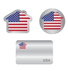 Home icon on the USA flag vector image