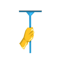 Icon of human hand in protective glove holding mop vector