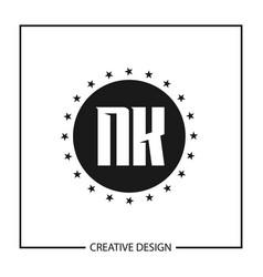 initial letter nk logo template design vector image