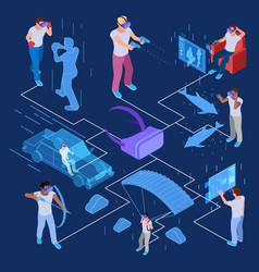 isometric virtual reality with men concept vector image