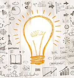 Light bulb with drawing business success strategy vector image