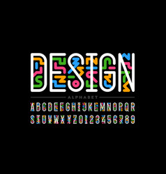 Linear style colorful font vector