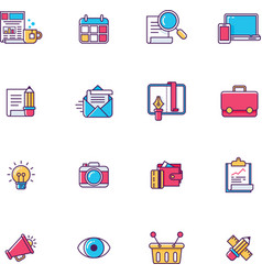 linear universal web page symbols vector image