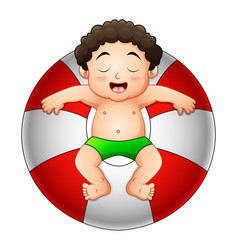 Little boy relaxing in inflatable ring vector