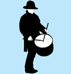 little drummer boy silhouette vector image
