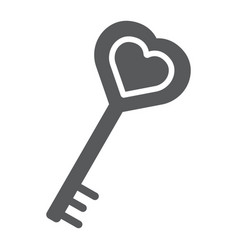 love key glyph icon love and lock heart key sign vector image
