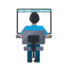 man on internet vector image