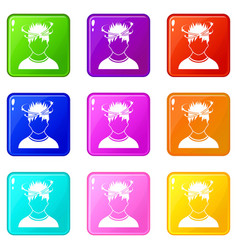 Man with dizziness icons 9 set vector