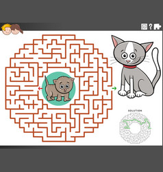 Maze educational game with kitten characters vector