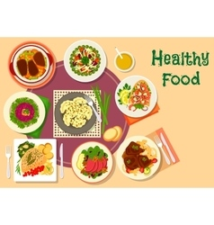 Meat and salad dishes icon for healthy food design vector image