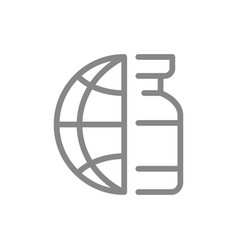 Medical ampoule and the globe earth line icon vector