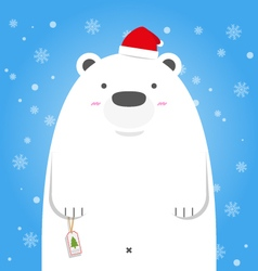 Merry Christmas white polar bear wear santa hat vector image