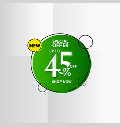 New discount label up to 45 special offer shop vector
