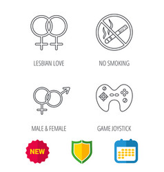 No smoking couple and game joystick vector
