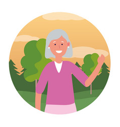 Old woman avatar round icon vector