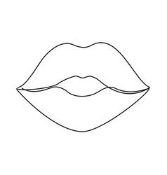 One line lips vector