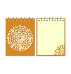 Orange cover notebook with round pattern vector