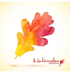 Orange watercolor painted oak leaf vector image