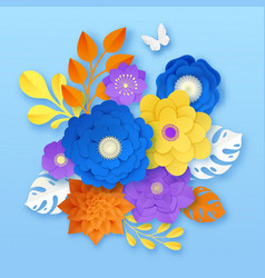 Paper flowers abstract composition template vector