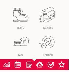 Park backpack and hiking boots icons vector