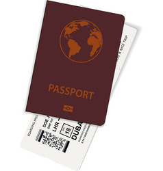 passport and ticket or boarding pass vector image
