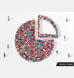 people crowd in form pie chart composed of vector image