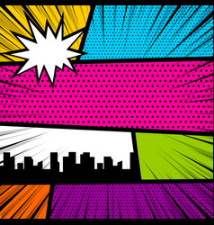 Pop art comic book colored backdrop vector