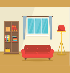 red sofa interior concept background flat style vector image
