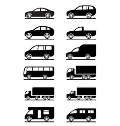 Road transportation icons set vector