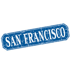 San francisco blue square grunge retro style sign vector