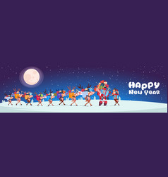 Santa with reindeers carry stack of presents vector