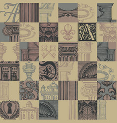 Seamless pattern on the theme of old architecture vector