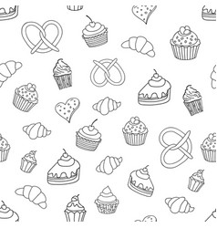 Seamless pattern with sweets pies cupcakes ice vector