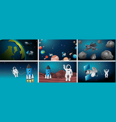 Set astronaut and solar system vector