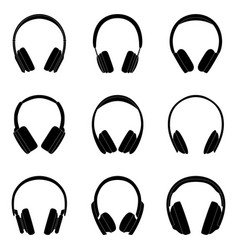 set black silhouttes headphones vector image