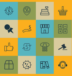 Set of 16 ecommerce icons includes recurring vector