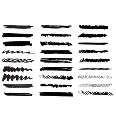 Set of black grunge brush strokes Black vector
