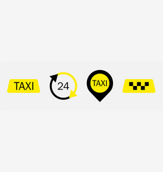 set of taxi service icons taxi signs taxi map vector image