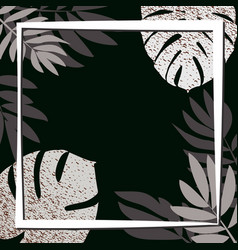 silver tropical leaves on the dark background vector image