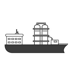 Sketch color silhouette boat cargo with platform vector