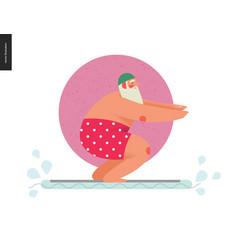Sporting santa - pool float fit vector