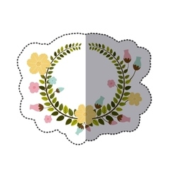 Sticker colorful border of leaves with pastel vector