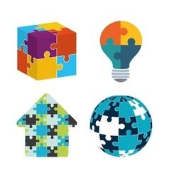 Teamwork support puzzle set design vector