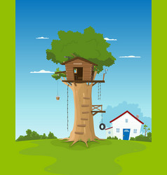 Tree house in garden backyard vector