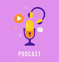 trendy cover for a podcast blog studio vector image